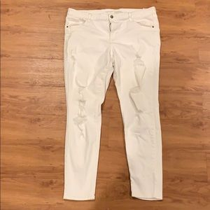 Bright white ripped jeans old navy